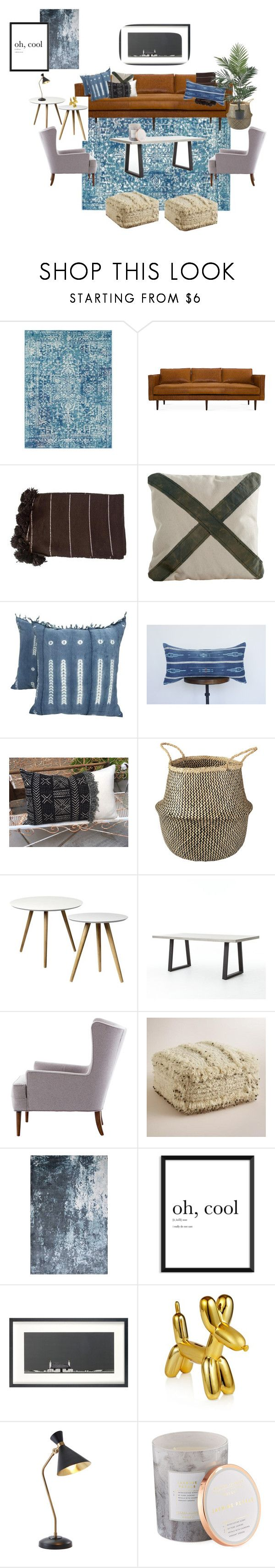 """Blue living"" by andreadavis2 on Polyvore featuring interior, interiors, interior design, home, home decor, interior decorating, Surya, Cost Plus World Market, John Lewis and Global Views"