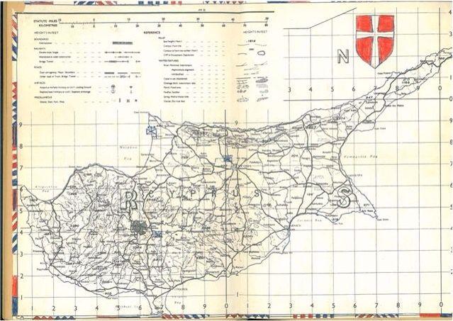 """Cypern - markering af steder hvor D-coy 3. deling var stationeret 1964-65: Ayia Irini, Morphou bugten, Alona, Trodos bjergene og """"Den Grønne Linie"""", Nicosia."""