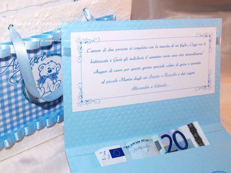 Biglietto porta soldi con dedica coordinato con busta per il Santo Battesimo di MARTIN