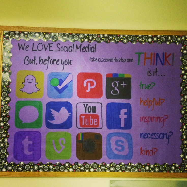 Social media think before you post bulletin board 2 for 9th class decoration