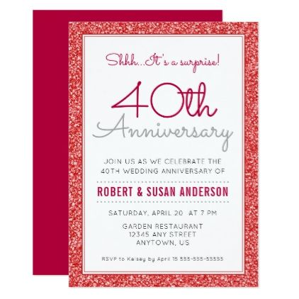 40th Wedding Anniversary Surprise Faux Red Glitter Card - glitter gifts personalize gift ideas unique