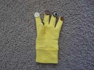 previous pinner wrote: Music gloves. Hot glue buttons onto a glove, and click, click, click away!  This would be a fun way to work on finger dexterity and finger isolation.