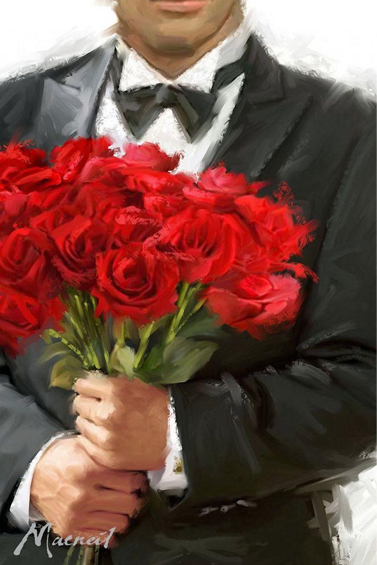 Красивые картинки парней с розами