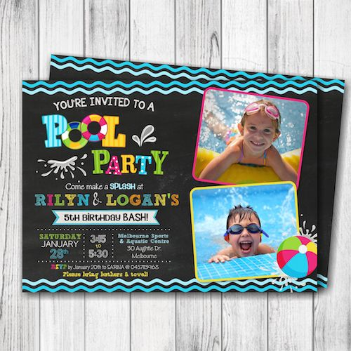 Pool Party Invitation – Summer Pool Party Invitation – Girl Pool Party Birthday Invite – Boy Pool Party Birthday – Pool Party Invitation with Photo –