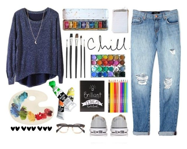 """Art Student"" by amy-marwedel ❤ liked on Polyvore featuring J Brand, Converse, Minor Obsessions and Fishs Eddy"