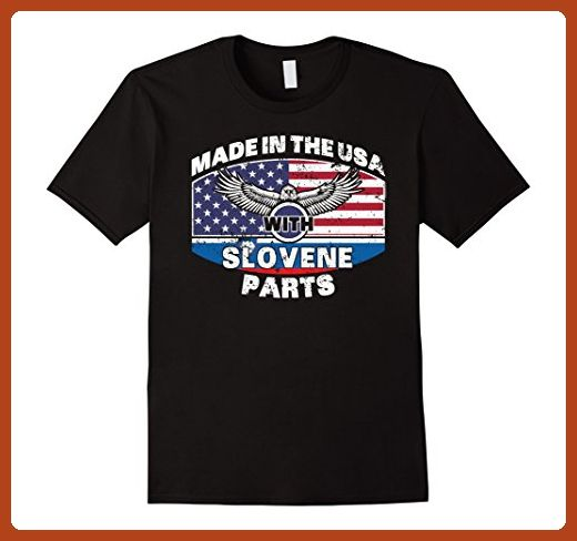 Mens Made With Slovene Parts Slovenia Flag Shirt 3XL Black - Cities countries flags shirts (*Partner-Link)