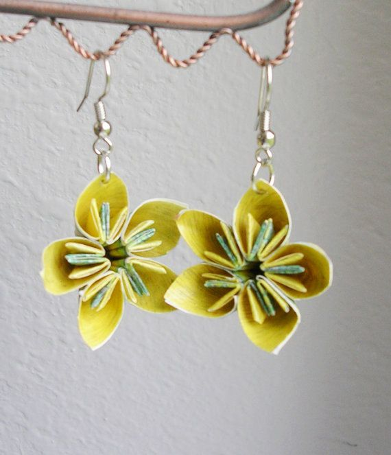 Kusudama Origami Earrings Yellow and Purple by PaperImaginations,