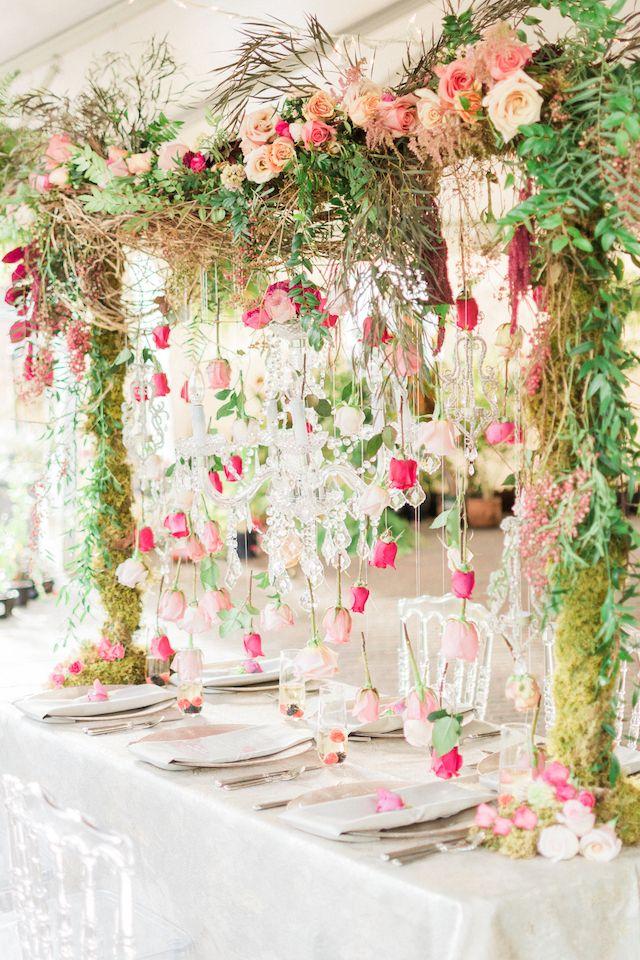 Suspended roses wedding reception | Anna Markley