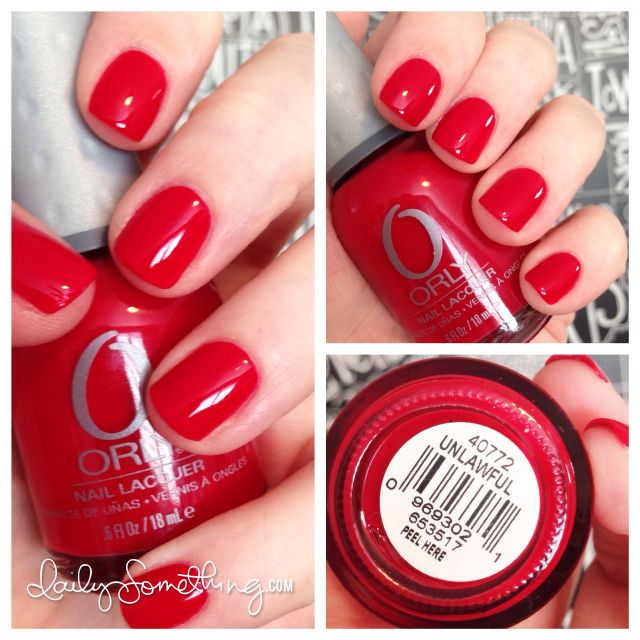 Orly Unlawful. Super cute red nail color, #dailysomething. Featuring the nails of the fabulous Kristina Werner, who also has a card-making blog & YouTube channel starofmay