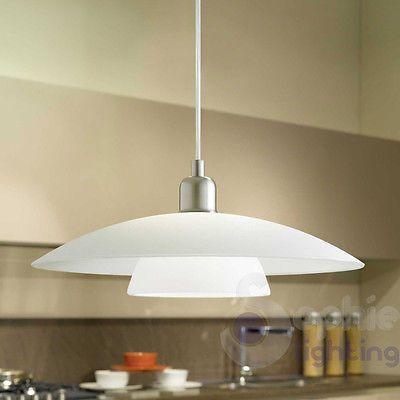Lampadario moderno acciaio cromato vetro satinato lampada sospensione cucina