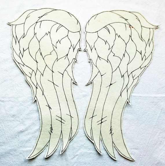 daryl dixon winged vest picture   Daryl Dixon The Walking Dead Angel Wings Vest back patch - White
