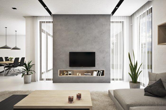 TV stena s vsadenou poličkou