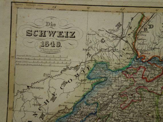 SWITZERLAND old map 1849 original antique hand by VintageOldMaps