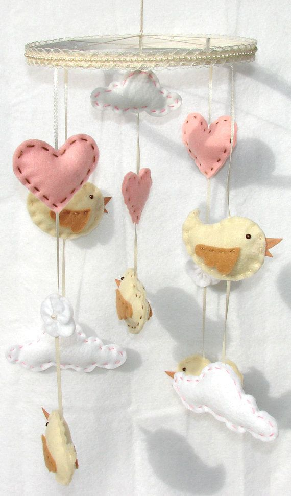Baby Bird Mobile Princess Bird Clouds Heart Felt by onesunnysunday #pinparty