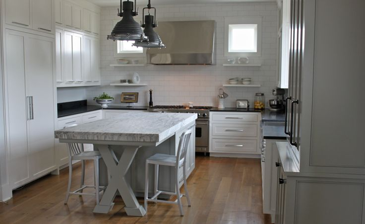 U Shaped Kitchen With Island Built In Refrigerator Large Stove Freestanding Cabinet And Great