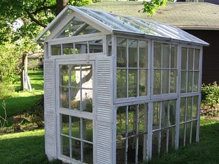 green house made from recycled windows and shutters. Lots of ideas for