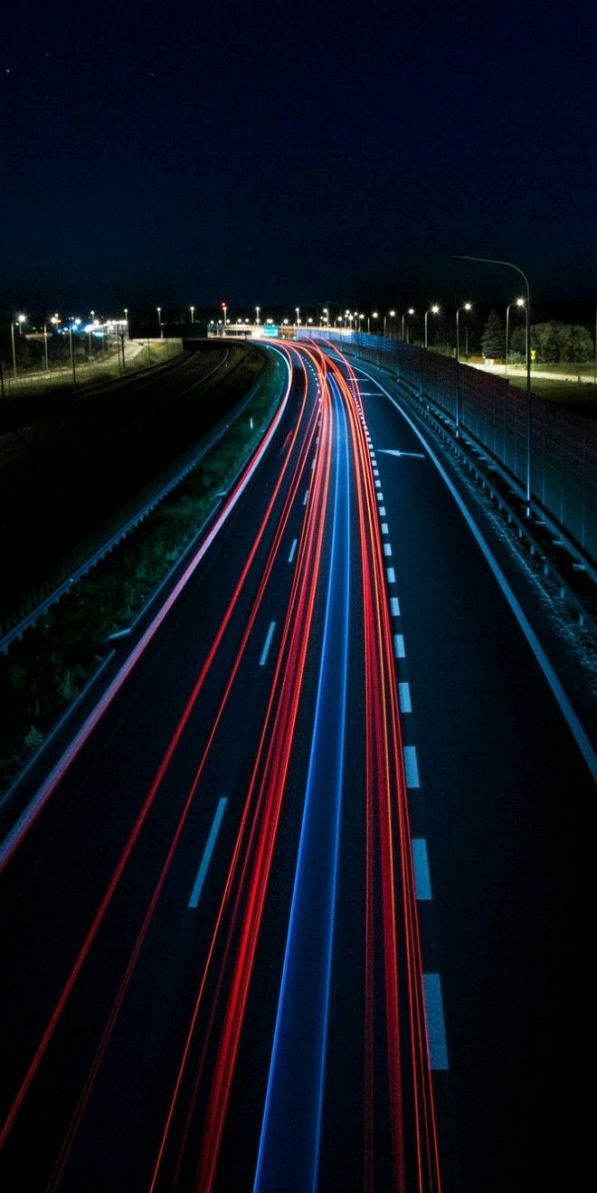 Wallpaper Of Long Exposure Night Photography View Of Vehicle