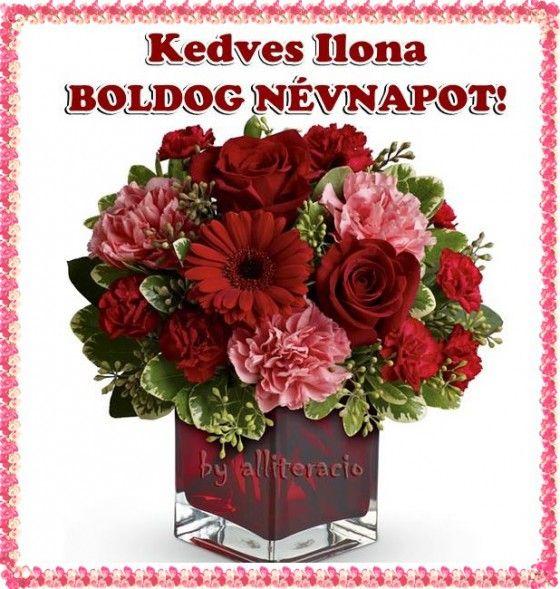 névnap, szöveges, képeslap, virágok, köszöntő,  Ilona,