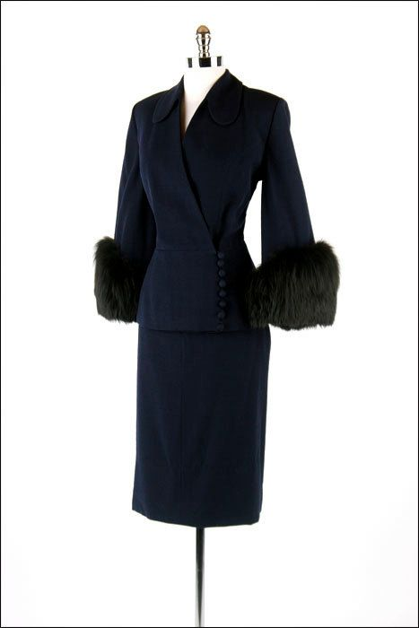 I'm in love with this vintage suit!  navy 1950's Lilli Ann.