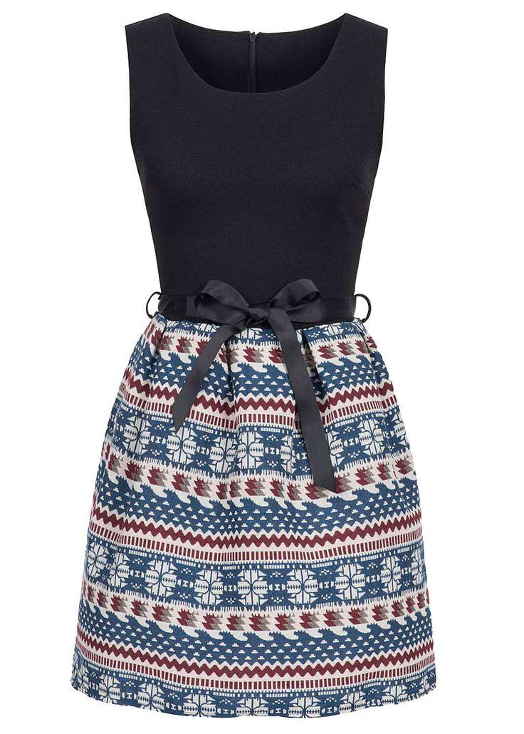 Styleboom Fashion Damen Mini Kleid Bindeband Zipper hinten Norweger Muster navy…