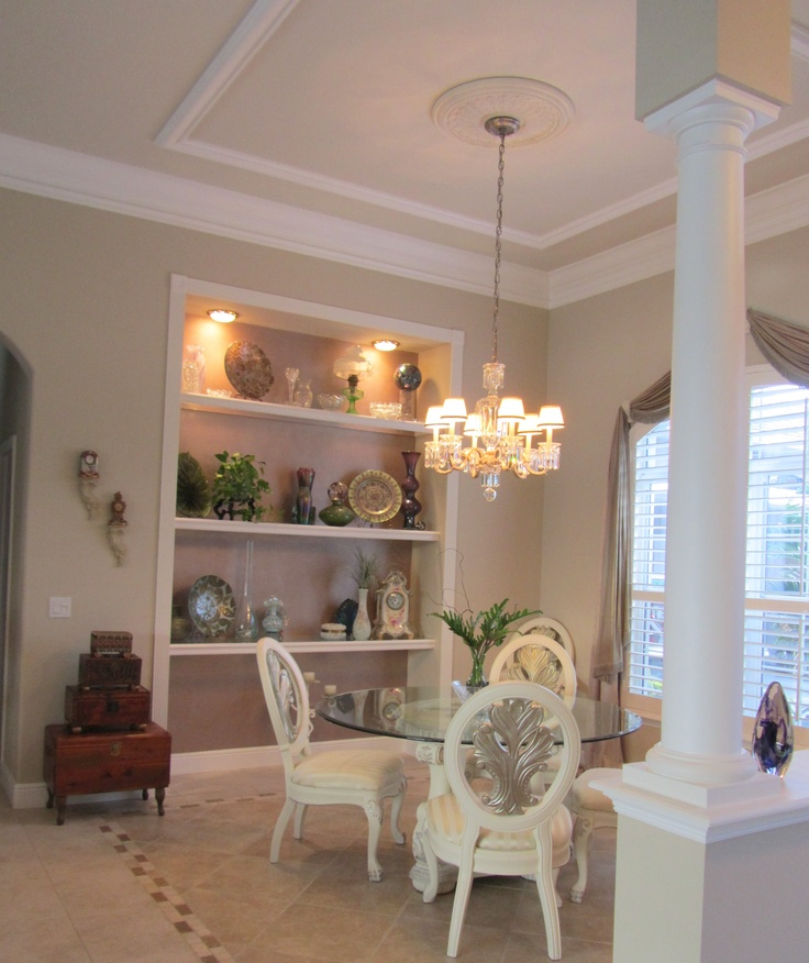 """Built In China Cabinet (10ft X 8ft) With 3/4"""" Plate Glass"""