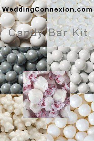 Budget-friendly white candy buffet candy kit.