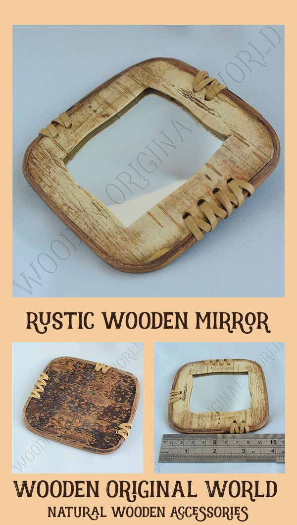 Wood eco friendly rustic makeup pocket compact square mirror #woodenaccessories  #rusticdecor  #mirror