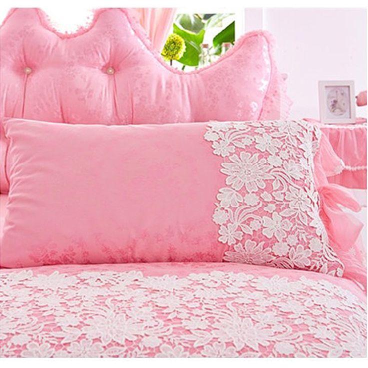 Белый Розовый Корейский Принцесса Постельные Принадлежности Набор 4 шт. Кружева Оборками пододеяльник покрывало кровать юбка постельное белье свадьбы король Подарок мешок