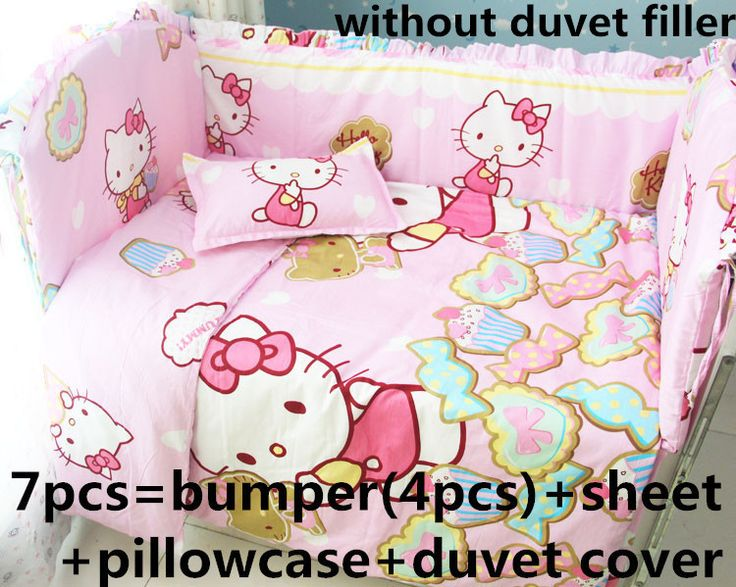 Promotion! 6/7/9PCS Hello Kitty Baby Bedding Set Crib Sets cot bumper+fitted Bed Cover Baby Cot Bedding Sets , 120*60/120*70cm