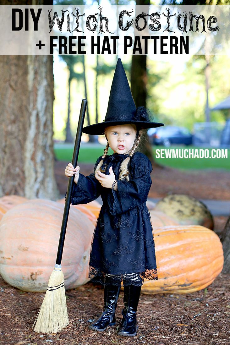 Make an awesome DIY witch costume for your little girl with this free witch hat pattern and tutorial!
