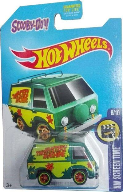 "DVC84 is part of the 2017 Super Treasure Hunt set and 6/10 in the HW Screen Time series. The dark green van has light green graphics on the sides with two orange flowers, ""The Mystery Machine…"