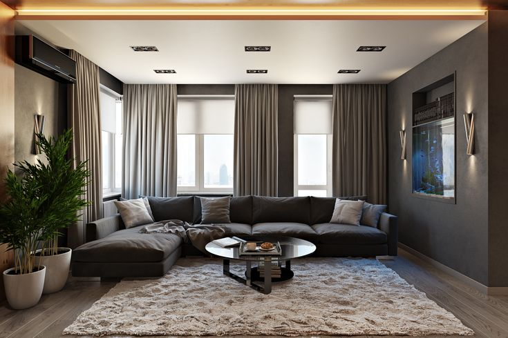 The #design of this living room cleverly employs the contrast between light and dark colors. The result looks marvellous because of the photorealistic 3D rendering – find out more at Archicgi.com.