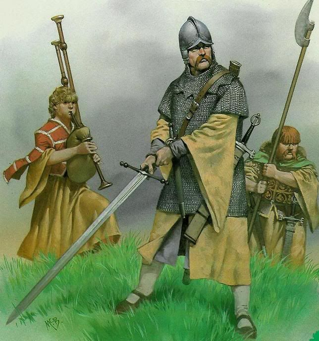 The following illustrations are by renowned military history illustrator Angus McBride. A Galloglass and the kern - circa 1562.