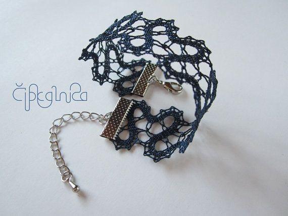 Navy Blue Lace Bracelet   handmade bobbin lace jewelry by A5lace