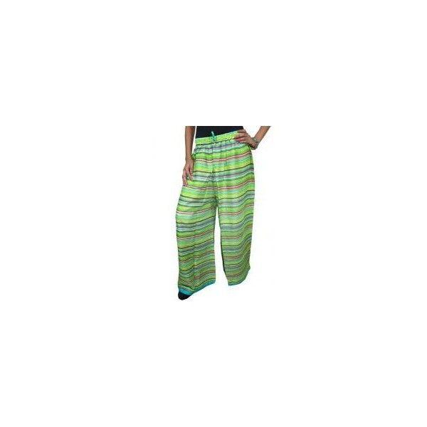 Boho Gaucho Palazzo Pant Green Gauzy Cotton Loose Pants via Polyvore featuring pants, palazzo trousers, green pants, cotton gaucho pants, cotton palazzo pants and bohemian pants