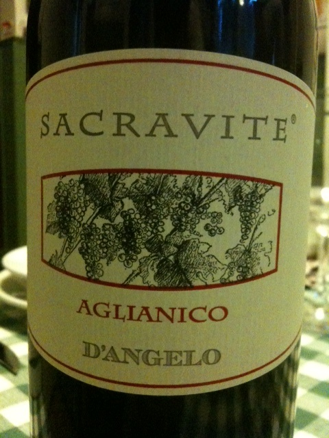 """D'Angelo """"Sacravite"""" Aglianico 2008 (Basilicata, Italy).  Aglianico is a high-quality Italian grape grown in the volcanic soils in Basilicata.  Complex, muted fruit and soft minerals.  Drank this one at Corsino in the West Village."""