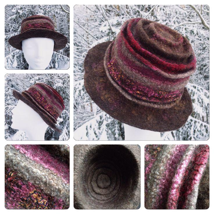 Felted hat with folds, nuno felting