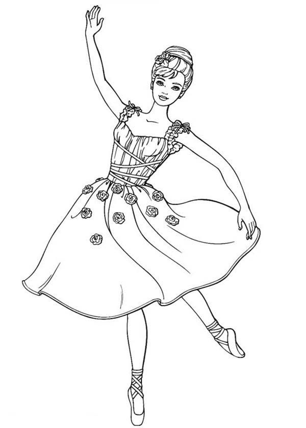 Barbie Doll Dancing Ballet Coloring Page
