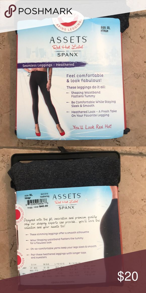 Assets by Spanx seamless gray heathered leggings Assets by Spanx seamless gray heathered slimming leggings. Flatten tummy and  super comfortable. Size XL 14-16 fits 36-39 waist and 43.5-45.5 hips. New with tags. Assets By Spanx Accessories Hosiery & Socks