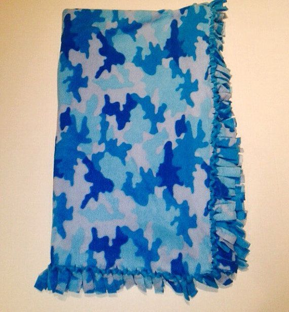 Blue Camo Blanket Kids Blankets Camouflage by BlanketsByNaomi
