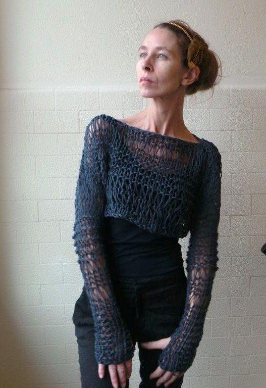 women's crop sweater, loose knit,  Petrol grey cropped grunge thumb hole loose knit sweater, open weave by ileaiye on Etsy https://www.etsy.com/listing/120873055/womens-crop-sweater-loose-knit-petrol