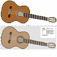A guitar musical instrument free cross stitch pattern