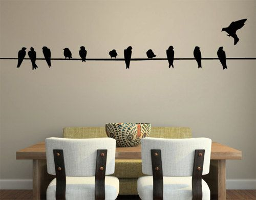 Birds On A Wire Home Decor Wall Sticker Decal Wall Art Wall Decor Twelve  Birds Wall Sayings Famous Quotes     Product Description:  This High  Quality Wall ...