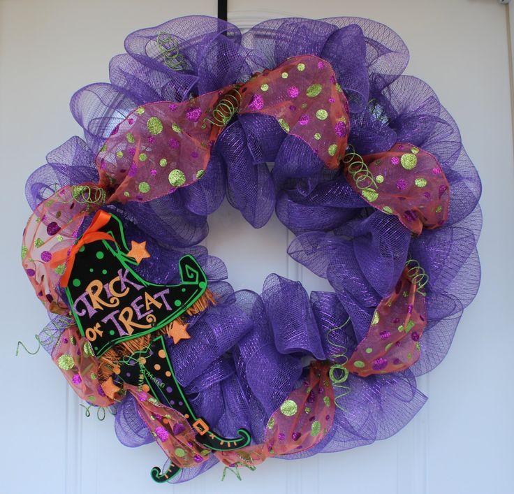 Mesh wreath, Halloween wreath, Halloween decoration, door decoration, front door…
