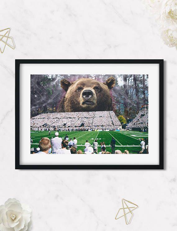 Bear Art Print, Wild Animals Digital Print ,Home Decor,Sport Game,Bear Collage, Football Game Animal Print, HagaraStuff,