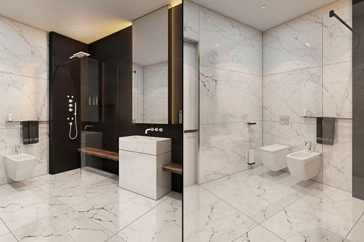 Dusche mit Glaswand im modernen Badezimmer