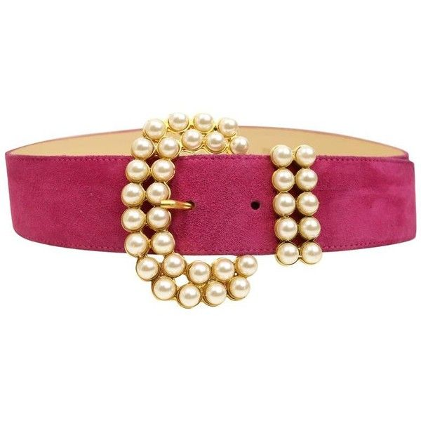 Preowned Vintage 80s Faux Pearl Gold Toned Hardware Pink Suede Belt ($480) ❤ liked on Polyvore featuring accessories, belts, pink, vintage belt and pink belt