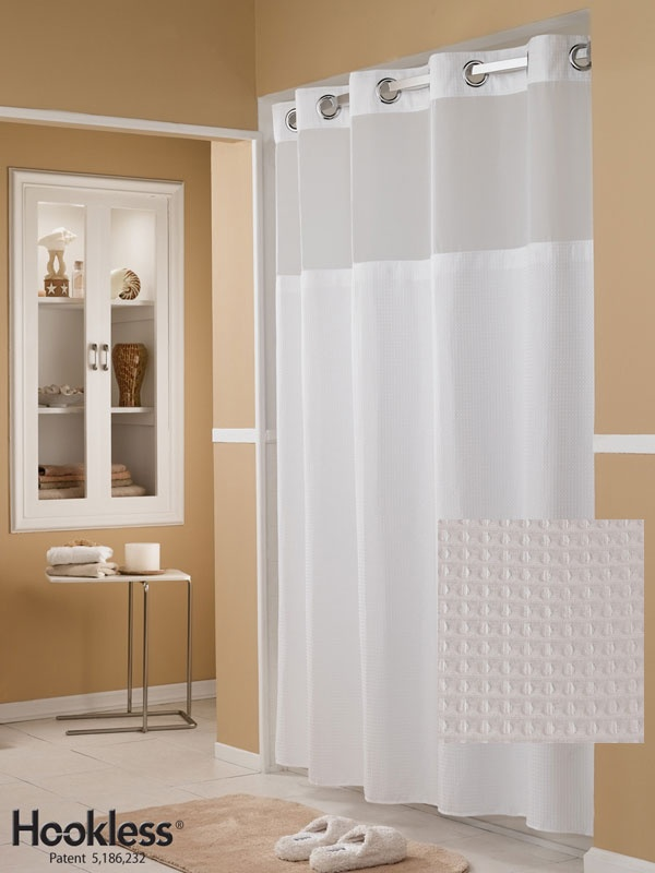 IT'S PERFECT.  Pique Waffle Hookless Shower Curtain with mesh window for light.  I MUST HAVE THIS.