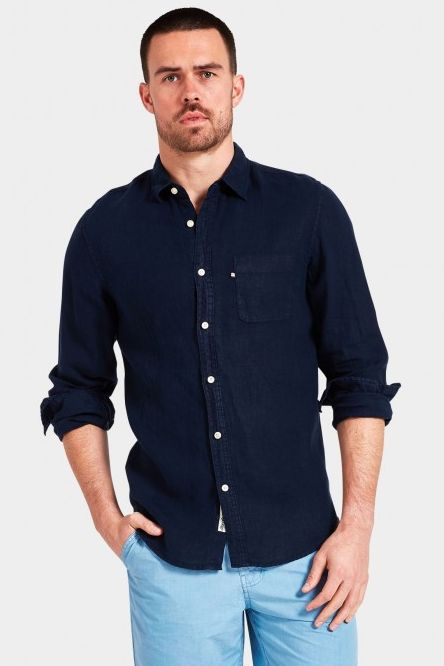 The Academy Brand - Hampton Linen L/S Shirt - Navy