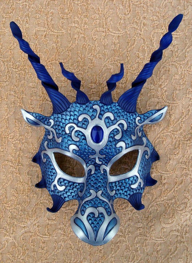 Blue Silver Dragon Mask by *merimask on deviantART
